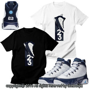 b75ab7c036c CUSTOM T SHIRT MATCHING STYLE OF Air Jordan 9 University Blue JD 9-4 ...
