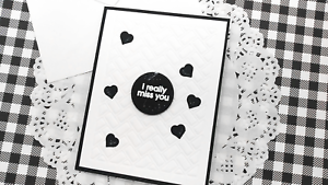 Handmade Greeting Card I Really Miss You Friendship Black and White A2 Size