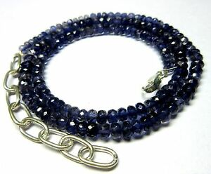 """94 CT Natural Iolite Gemstone Rondelle Faceted Beads 19.5"""" NECKLACE 4.5-6MM S57"""