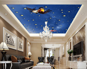 3D Karikatur Vogel Sterne 5 Fototapeten Wandbild Fototapete BildTapete DE Lemon