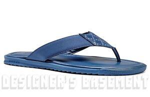 16f9642496213a GUCCI mens 9.5G  blue DIAMANTE Leather FLIP-FLOPS Thong sandals ...