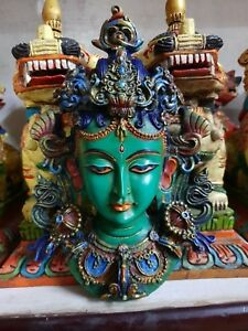 Tibet-Tibetan-Buddhism-Green-Tara-Face-Mask-Wall-Hanging-Resin-Statue-Handmade