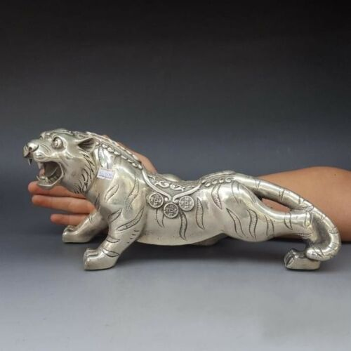 """13/"""" Old China FengShui Silver  Auspicious Carved Wealth Money Coin Tiger Statue"""