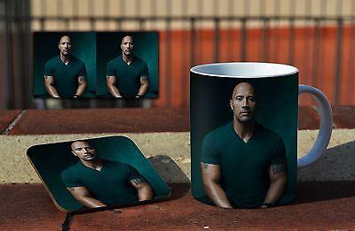 Dwayne Johnson Portrait Ceramic Coffee MUG Coaster Gift Set /…