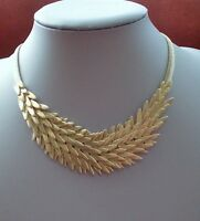 Modern Soft Gold layered Leaf Design Statement Necklace with Flat Snake Chain