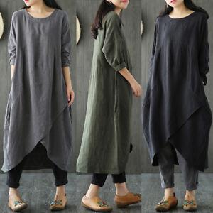ZANZEA-Women-Long-Sleeve-Asymmetrical-Loose-Casual-Kaftan-Tops-Shirt-Dress-Plus