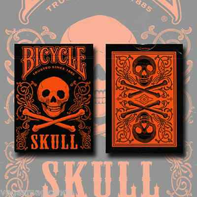 Skull Metallic Orange Deck Bicycle Playing Cards Poker Size USPCC Limited Sealed