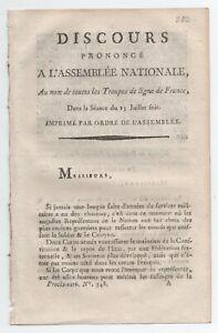 100% De Qualité 1790 Revolution Discours Au Nom Des Troupes De Ligne