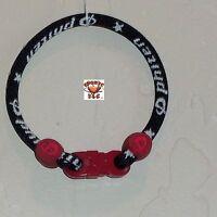 Phiten Custom Bracelet - Black With Maroon Clasp And Grommets