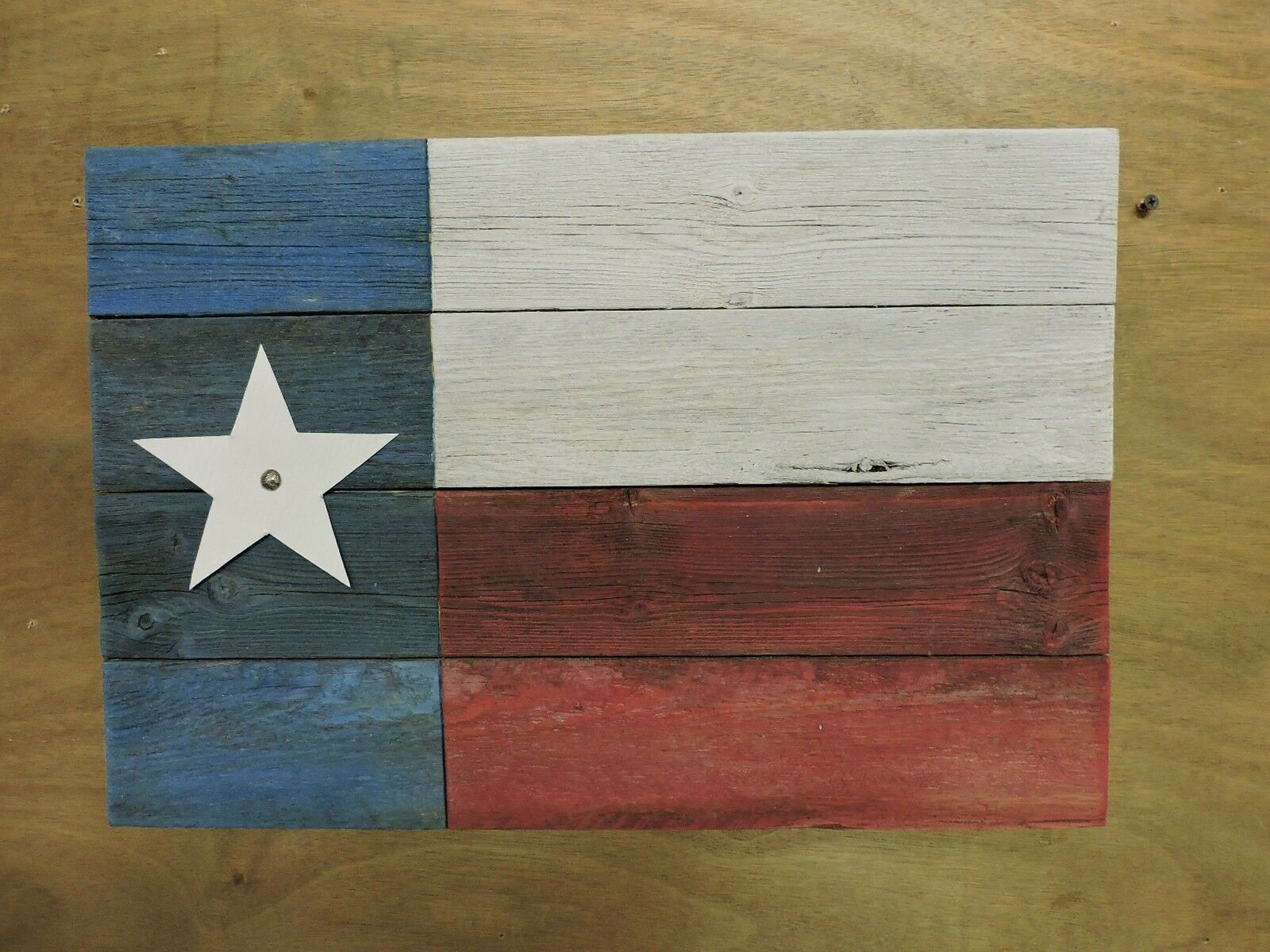 Texas Flag - recycled fence wood with distressed paint; rustic  ( 7S)