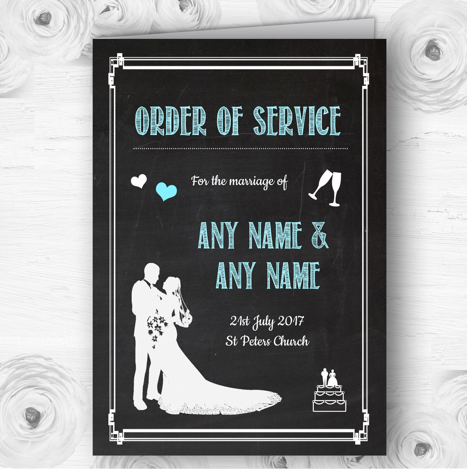 Chalkboard Aqua Personalised Wedding Double Sided Cover Order Of Service