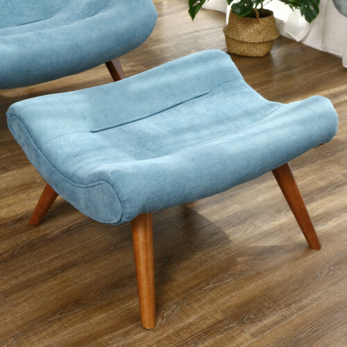 Curved Back Padded Chair Faux Wool Fabric Sofas Nap Chairs W/ Pillow Footstool