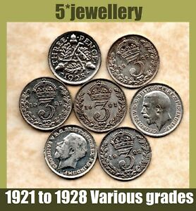 real silver 3d Three Pence coins George 5th threepence 1923- 1928 Grade G to UNC