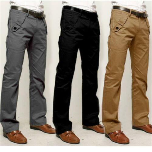 Mens Chino Trousers Business Slim Fit Formal Office Work Pencil Pants Straight