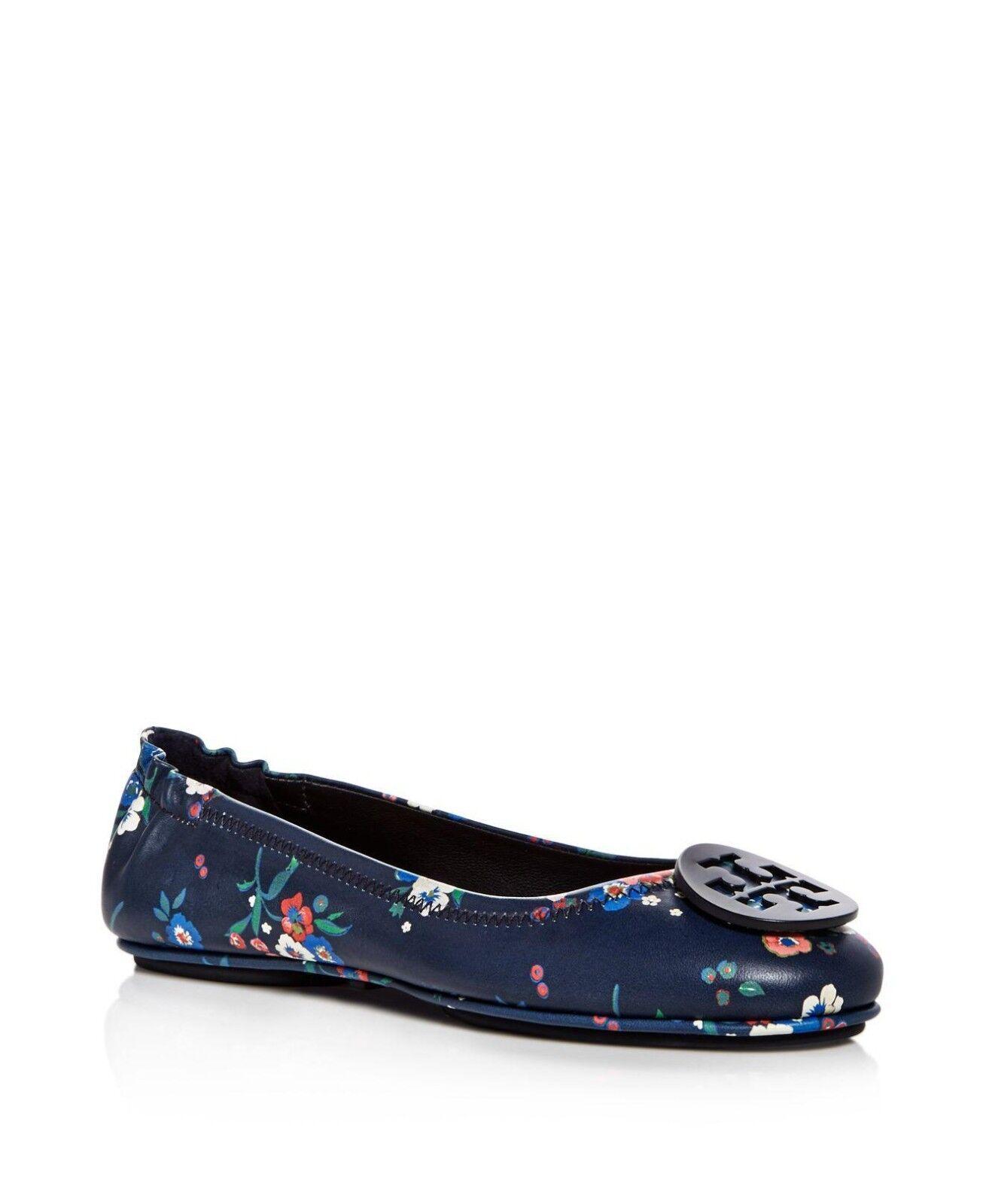 NIB Tory Burch Minnie Floral Travel Logo Ballerina Flats Flats Flats shoes PANSY 9.5 M fdfeab