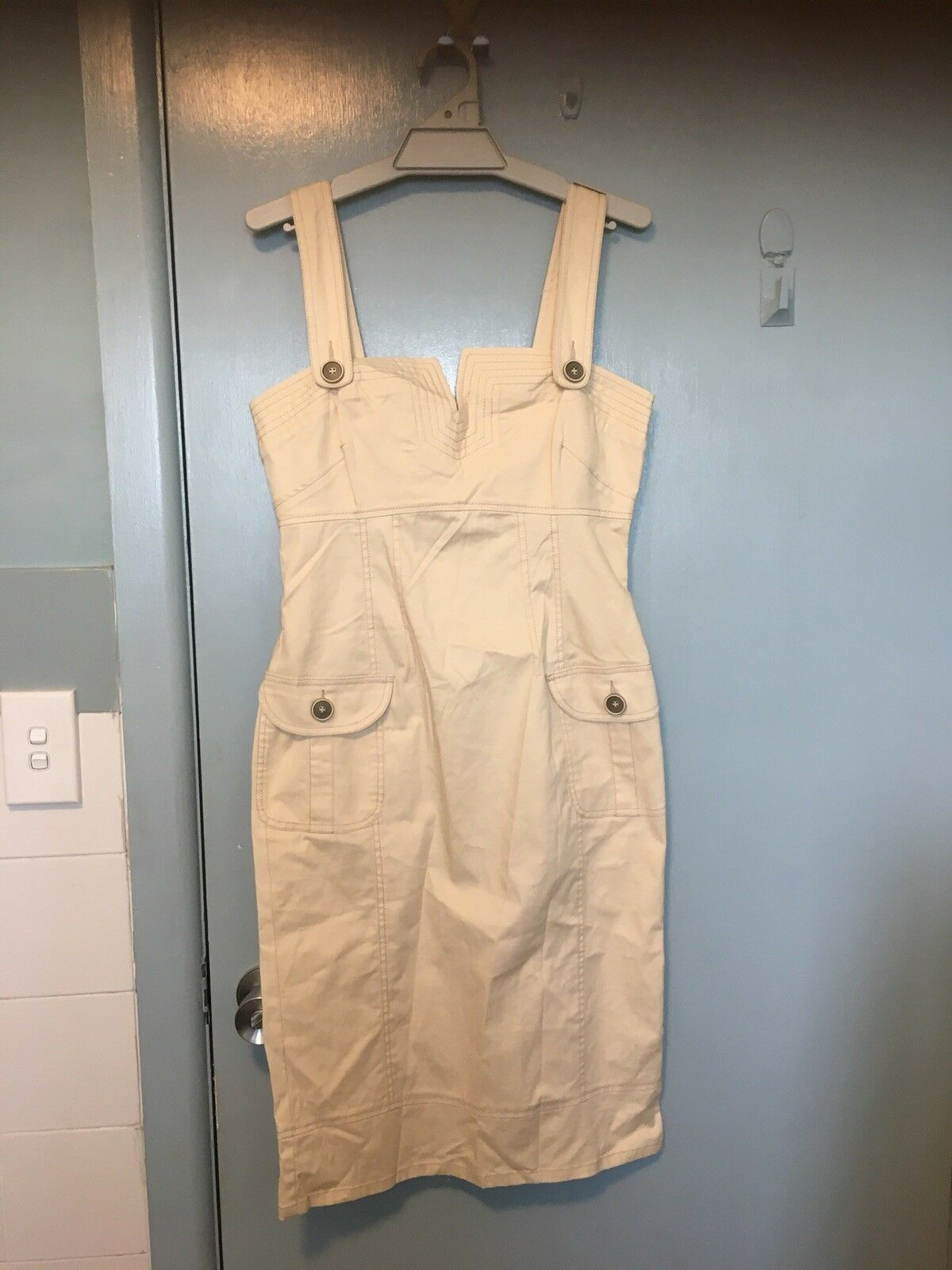 Moss & Spy Cream Pinafore Style Dress In Size
