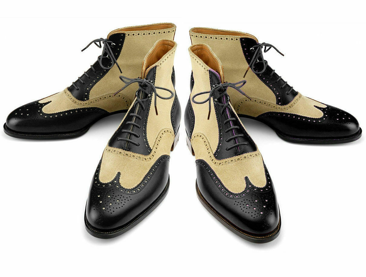 Mens Handmade shoes Wing Tip Ankle High Two Tone Leather Casual Brogue Boots New