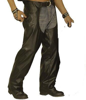 Black Biker Chaps YMCA 1980/'s Camp Rocker  Cowboy Fancy Dress Costume XL