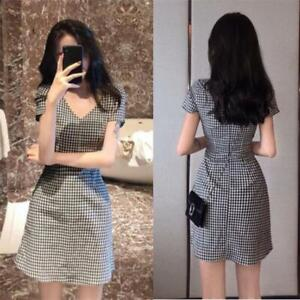 Korean-Women-Plaid-V-Neck-Short-Sleeve-Slim-Career-OL-Party-A-Line-Mini-Dress