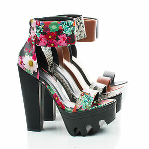 Vive04 Lug Sole Platform Sandal On Thick Block Heel w Ankle Strap ...