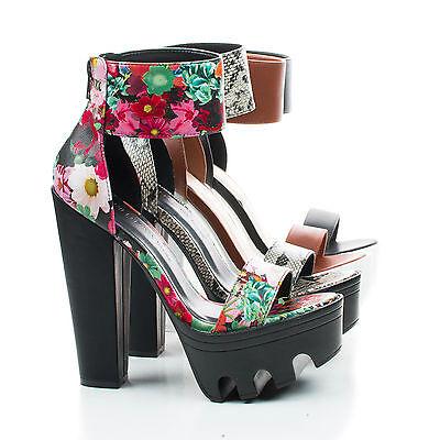 Vive04 Lug Sole Platform Sandal On Thick Block Heel w Ankle Strap, Women Shoes