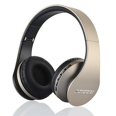 Stereo Bluetooth Headset Earphone 4 in 1 Wireless with Mic MP3 Player Gold 9A5K