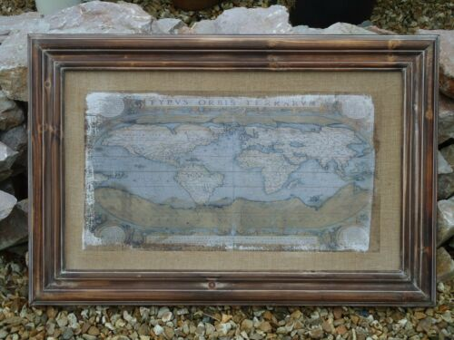 90 CM Old World Jute Map Framed Print Picture Nautical Ship Boat Pub Bar