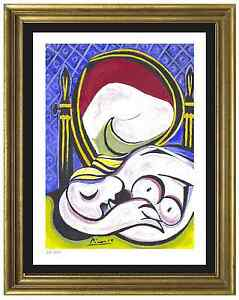 Pablo-Picasso-Signed-amp-Hand-Numbered-Ltd-Ed-034-The-Mirror-034-Litho-Print-unframed