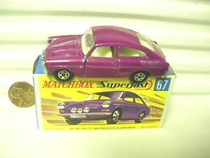 LESNEY-MATCHBOX-1970-MB67A-GRAPE-VW-VOLKSWAGEN-1600TL-C9-MINT-IN-CRISP-MINT-BX