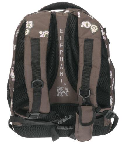 Schulrucksack FUNKY ELEPHANT XL Rucksack 3 Hauptfächer m Laptopfach BRAUN PINK