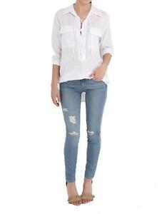 218-EQUIPMENT-FEMME-Bright-White-LINEN-Knox-SHIRT-Top-Front-Lace-Tie-L
