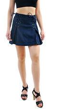 Free People Women's Lace Up Denim Mini Skirt Dark Blue Size UK 8 RRP £62 BCF69