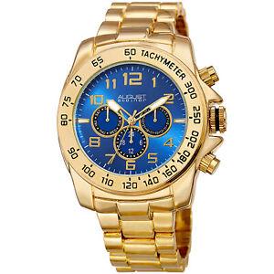 Men-039-s-August-Steiner-AS8095YGBU-Quartz-Two-Time-Zone-Date-Steel-Bracelet-Watch