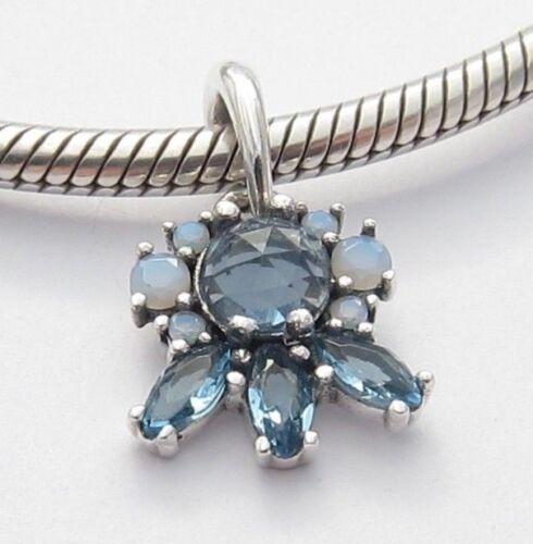 FROST DANGLE CHARM Bead Blue CZ Sterling Silver .925 For European Bracelet