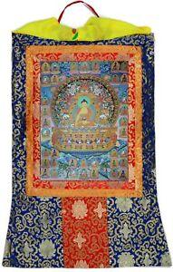Thangka-Shakyamuni-Buddha-Gautama-Kunstdruck-Mandala-Brokatrahmen-63-x-105-cm