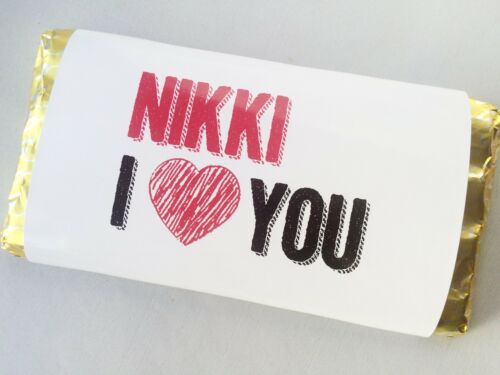 Matching Bottle Label /& Chocolate Wrapper Personalised Valentines I Love You