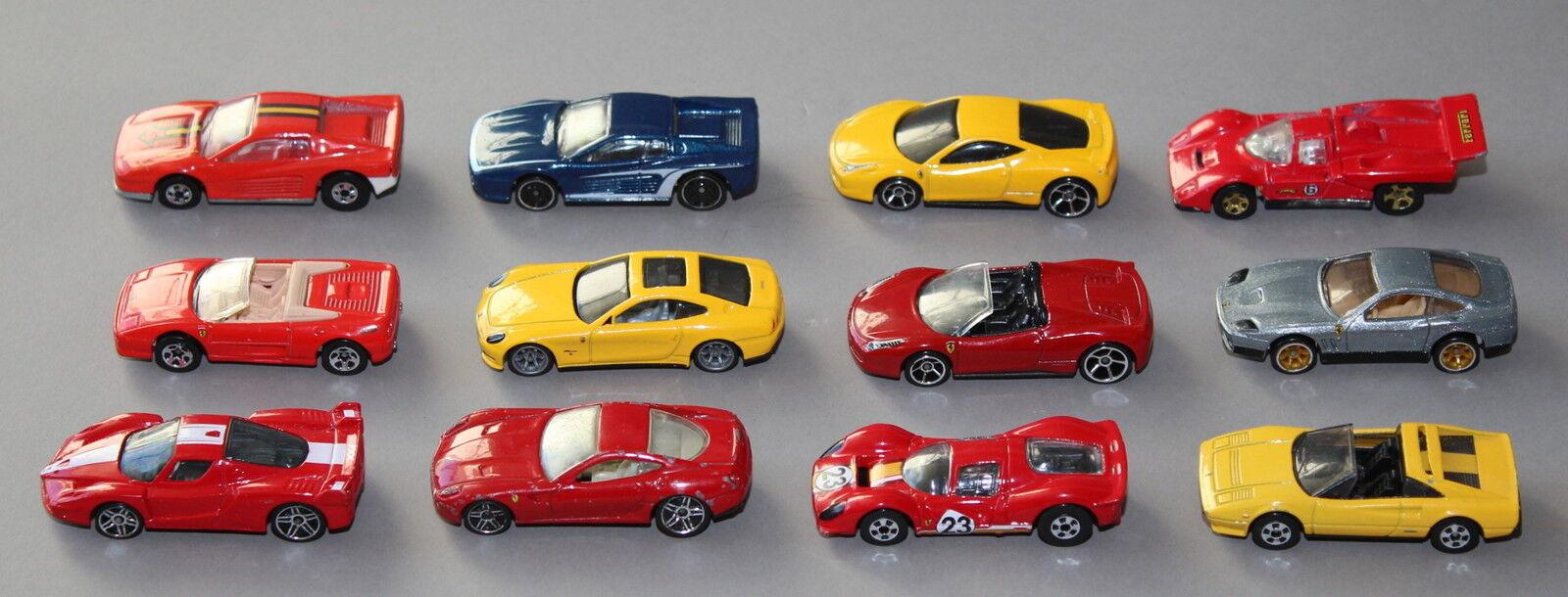 12x ferrari coche modelo o. OVP, 11 unidades de mattel Hot Wheels 1 64 -. - (317)