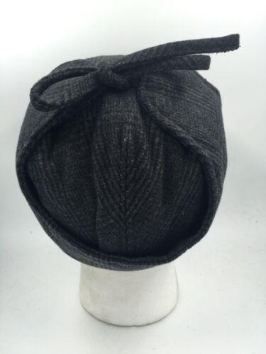 UNISEX BLACK GREY DEERSTALKER STYLE FLAT CAP CHECK WOOL BLEND HW3034 BNWT