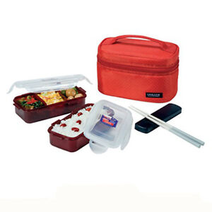 lock lock lunch box set chopsticks bag bento red containers travel picnic food ebay. Black Bedroom Furniture Sets. Home Design Ideas
