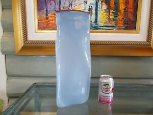 Triad-Glass-Vase-Listed-Artist-Signed-034-Robin-Mix-034-1986-15-3-4-034-Tall-x-6-034-Dia