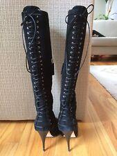 $980 Giuseppe Zanotti Black Lacing Stiletto Boots 5.5