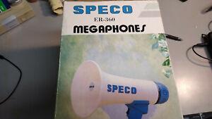 SPECO-Megaphone-model-ER-360-10-Watt-power-rating-batteries-not-inlcuded