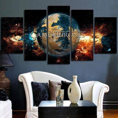 Game Of Thrones Welt Gerahmt Leinen Fünf Teile Wandkunst 5 Panel Home Dekor