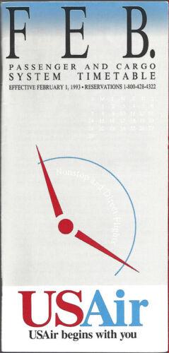 USAir system timetable 2//1//93 Buy 4 save 25/%