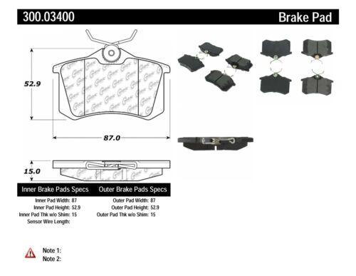 Disc Brake Pad Set-Premium Semi-Met Pads with Shims Rear Centric 300.03400