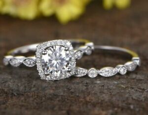 Moissanite Halo Engagement Ring Solid 14k White Gold 1.70 Ct Excellent Round
