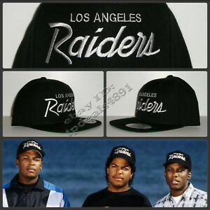 ffef4e6508d0fc Vintage Replica LA Los Angeles Raiders Script Cap Hat Snapback Black ...