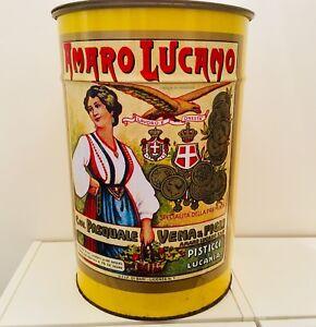 Bidone-pubblicitario-in-latta-AMARO-LUCANO-originale-anni-70-scatola