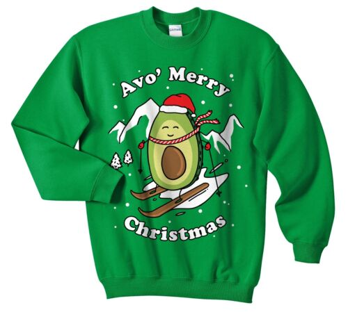 Avo/' Merry Christmas Sweater Jumper Sweatshirt Funny Ugly Avocado Yourself a