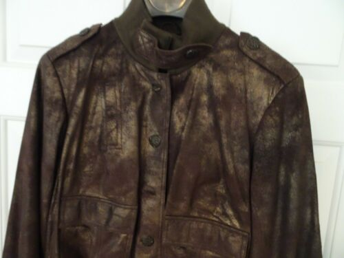 York Size 809140830108 Preston Leather Genuine Ladies Jacket nwt Metal amp; L Brown aq7w6